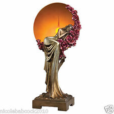 ART DECO SUNSET MAIDEN SLEEPING ON A BED OF ROSES SCULPTURE SOFT ILLUMINATION