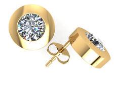 Genuine 1.0Ct Round Cut Diamond Stud Earrings 14k Gold Bezel Set GH I1 Push Back