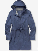 L.L. BEAN sz Small Women's West End Trench Coat Belted Hooded Lapis Blue