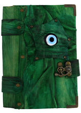 Handmade Real Leather Journal Diary Notebook Sketch Green Large Lucky Evil Eye