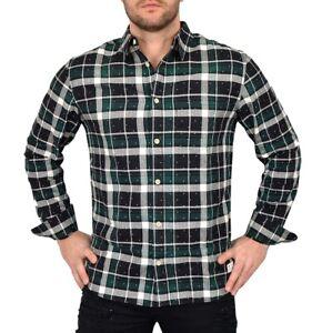 Adidas Hombre Franela Camisa Cuadro Ocio Manga Larga Camiseta de Negro/Verde