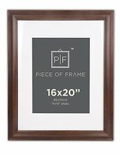 16x20 Brown Border Photo Frame, with Ivory Mat for 11x14 Picture & Real Glass