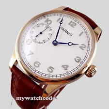 44mm parnis blue hands brown 6497 hand winding movement mens wristwatch 220