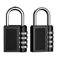 Combination Security Padlock, 4 Digit Resettable Code Lock, Black Pack of 2 F5E