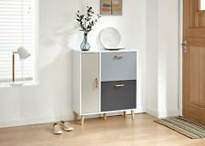 Grey And White Shoe Storage Cabinet 2 Pivot Drawers 1 Door Compartment Delta