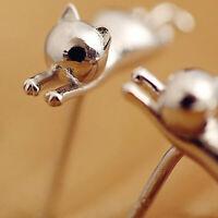 925 Silber Katzen Ohrringe kleine Ohrstecker