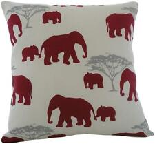 "Cushion cover in Marson Elephant RED fabric 17"" / 43cm square"