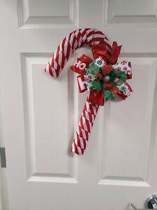 Candy Cane Christmas Wreath Holiday Homemade Door Hanger
