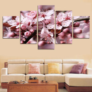 Peach Blossom Flowers Nature Poster 5 Panel Canvas Print Wall Art Home Decor