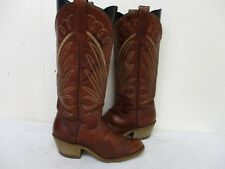 Brown Leather Tall Cowboy Boots Womens Size 5 M Style L23