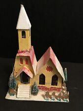 "Vintage Putz Christmas Village Cardboard Mica Glitter Church Metal Bell 9"" Tall"
