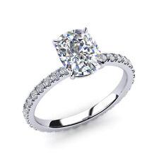 0.82 Ct Cushion Cut VS1 Diamond Engagement Rings 14K White Gold Size 5 4