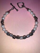 Hand Beaded 925 Sterling Silver & Genuine Pearl Mackenzie Name Bracelet 20 Grams