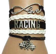 Infinity Love Racing With Flag Charms Leather European Bracelet - Black/White