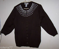 193a34a3080 CATHY DANIELS Zip Front Sweater - BROWN w White Embellishments - Sz XL - EUC