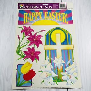 Vintage Color Clings Happy Easter Cross Window Decorations Cottontale