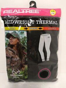 Womens Realtree Xtra Black Midweight Thermal  Base Layer Long John Bottom Large