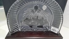 NEW Waterford Crystal Christmas NATIVITY CRECHE & Wooden Plinth Stand Backdrop