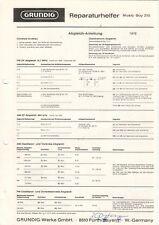 GRUNDIG - Music-Boy 210 - Reparaturhelfer Abgleich-Anleitung Schaltbild - B10257