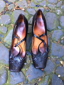 Brown Moc Croc Chie Mihara Shoes 6.5