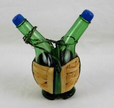 Salt & Pepper Shakers Green Glass Oil & Vinegar Bottles In Straw Basket Wrapped