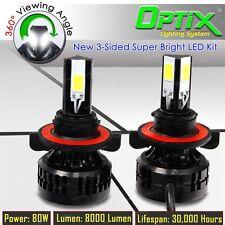 LED 80W 8000LM 6000K 6K White 3-Sided Kit Dual Hi / Lo Bulbs - H13 9008 Pair
