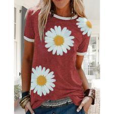 Women Summer Short Sleeve Casual Crew Neck T Shirt Floral Print Loose Top Blouse