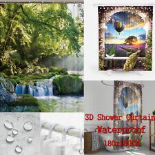 3D Waterfall Bathroom Shower Curtain Window Curtain BathMat With Hooks UK ILC