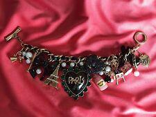 Betsey Johnson Goes to Paris Eiffel Tower Fleur De Lis Pearl Bow Heart Bracelet
