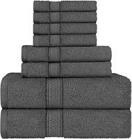 8 Piece Bath Towel Set 100% Egyptian Cotton Luxurious Towels