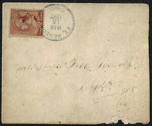 US 1887 FORT SENECA OHIO FANCY STAR CANCEL IN VIOLET