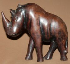 Vintage hand carving wood rhinoceros statuette