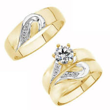 Yellow Gold Diamond His Her Wedding Bride & Groom Set Engagement Trio Ring+Band