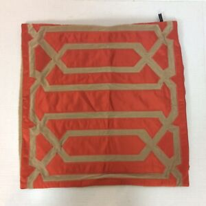 """Rodeo Home Pillow Cover Orange Tan Geometric Pattern Suede Back 19.5"""" Square"""