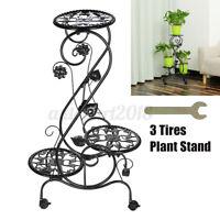 3 Tier Metal Plant Floer Stand Display Shelf Rack With Wheels Home Garden