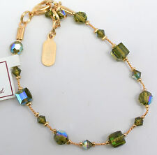 DABBY REID NEW Olivine Green Crystal 24 K Gold Plated Bracelet HDB6190G Y24