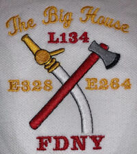 Fdny Fire Department New York Polo T-Shirt Sz L Fdny Lafd Engine 328 Queens