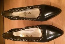 Classic Vintage Chanel Gold Link Satin Pump Shoes Size 7