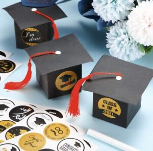 Graduation Cap Gift Boxes  Black & Red Lot Of 38 Party Favor