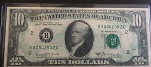 1969-B $10 Federal Reserve Note Offset Printing Error Full Back To Face Rare!