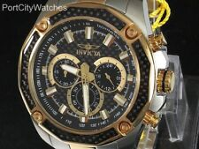 Invicta Mens 48mm Aviator Black Glass Fiber Dial Chronograph Two Tone SS Watch