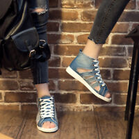 Hollow Out Denim Womens Retro Toe Lace Up High Top Sandals Flats Shoes