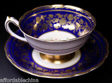 Gorgeous Paragon Cobalt and Gold Floral Centered Cup and Saucer - A