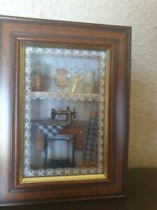 Minature Dolls House  Antique Pedal Sewing Machine Scene Boxed And Framed