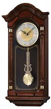 Grandfather Wall Clock Seiko Mounted Chime Hanging Vintage Colonial Antique Oak