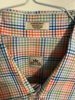 Mens PETER MILLAR Long Sleeve Checkered Multicolor Button Down Shirt Size : XL