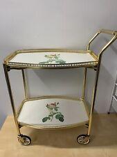 Vintage Brass look 2 Tier Hostess Tea Drinks Trolley Rose Design Unusual Shape