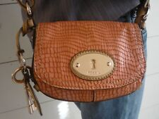 FOSSIL Maddox Reptile Embossed Leather Salmon/Tan Flap Crossbody Purse Bag SMALL