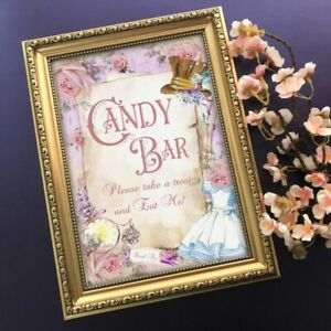 Alice in Wonderland Candy Bar Sign, Wedding Decoration, Tea Party Sweet Table