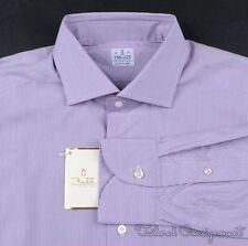 NWT- TRUZZI White Purple Striped 100% Cotton Mens Luxury Dress Shirt - 16